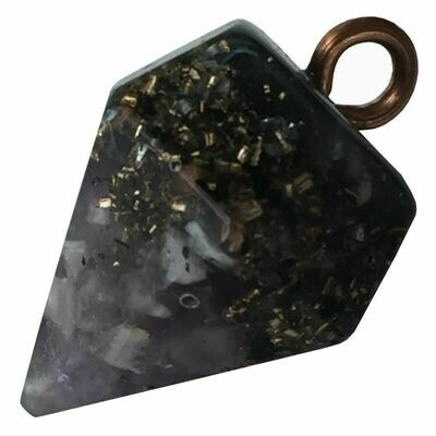 Orgonite Diamond Pendant Necklace Small - Amethyst