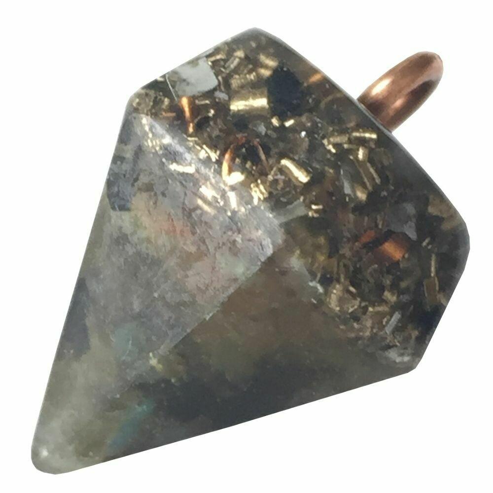 Orgonite Diamond Pendant Necklace Small - Labradorite