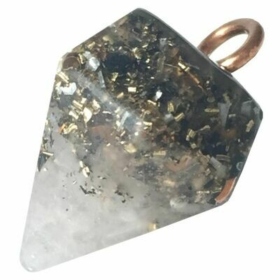 Orgonite Diamond Pendant Necklace Small - Rose Quartz