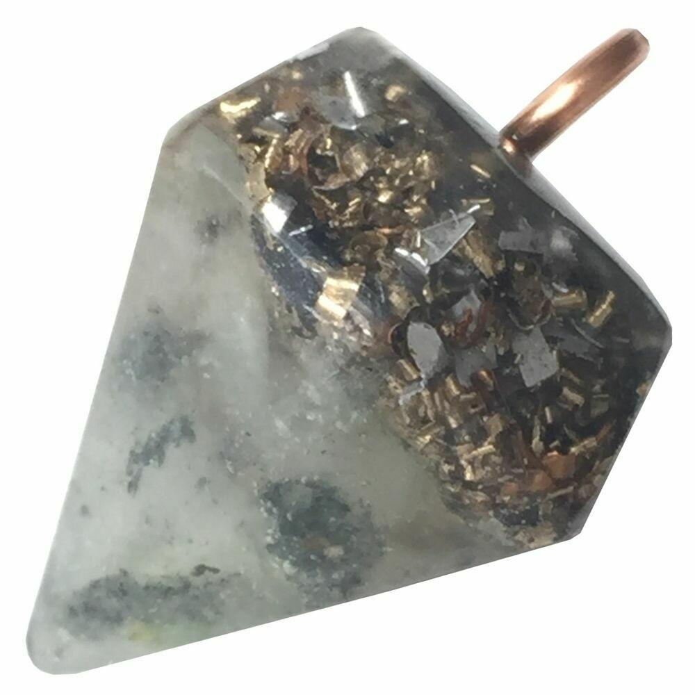 Orgonite Diamond Pendant Necklace Small - Green Aventurine