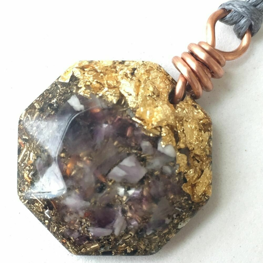 Orgonite Mini Hexagonal Pendant Necklace - Amethyst & Imitation Gold Leaf