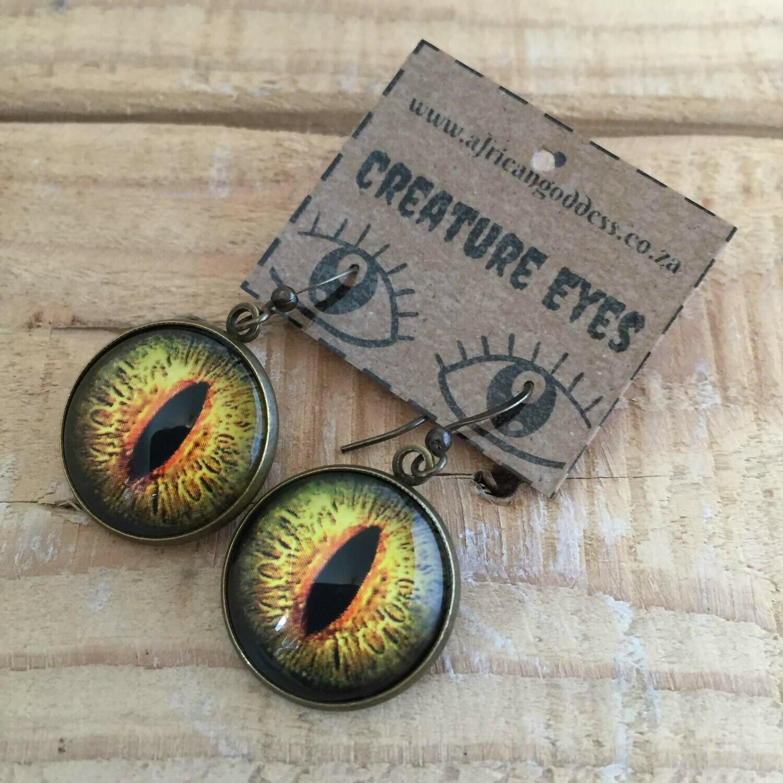 Creature Eye 18mm Dangle Earrings - Green