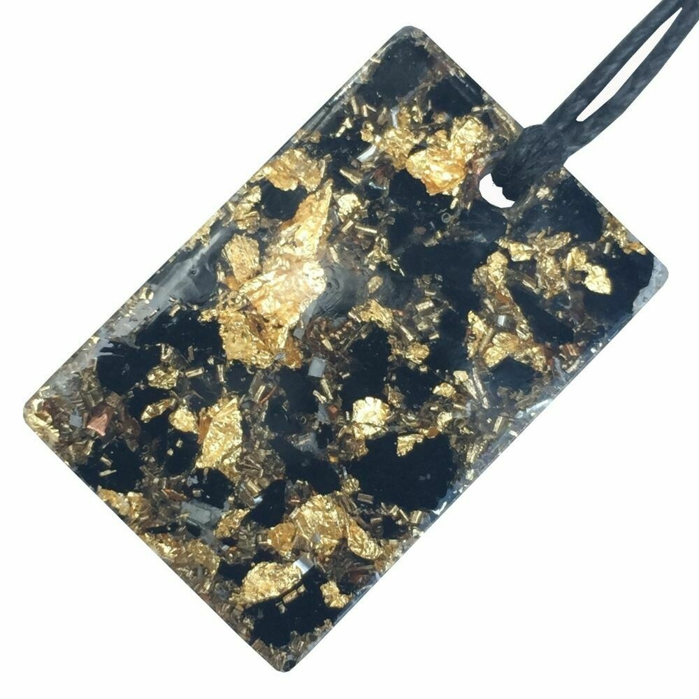 Orgonite Mini Rectangular Pendant Necklace - Black Tourmaline & Imitation Gold Leaf