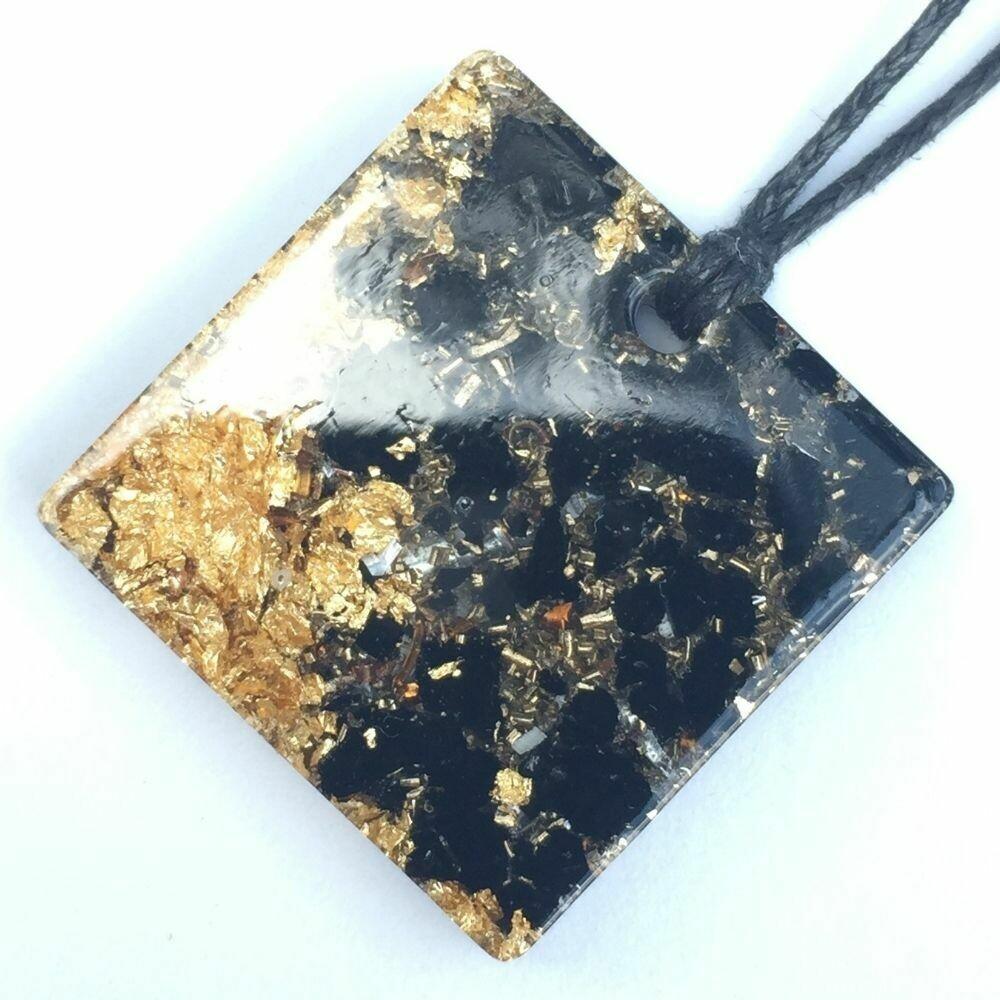 Orgonite Square Mini Pendant Necklace - Black Tourmaline & Imitation Gold Leaf