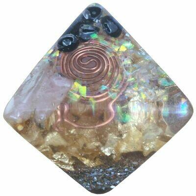 Orgonite Octahedron -  SBB Coils, Gold Leaf, Black Obsidian, Clear Quartz, Rose Quartz & Unicorn Glitter Bits