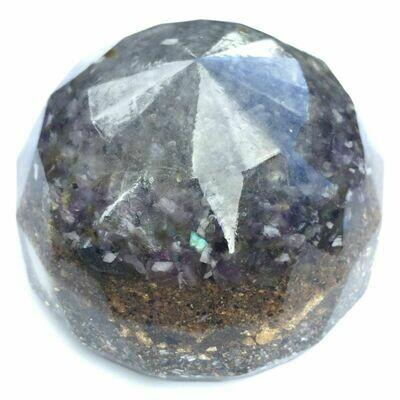 Orgonite Large Sphere - Clear Quartz, Amethyst, Labradorite, Sea Sand, Sea Shell & Imitation Gold Leaf