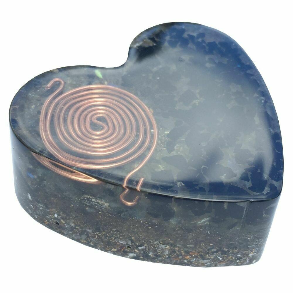 Orgonite Large Heart -  Black Tourmaline, Labradorite & SBB Coil
