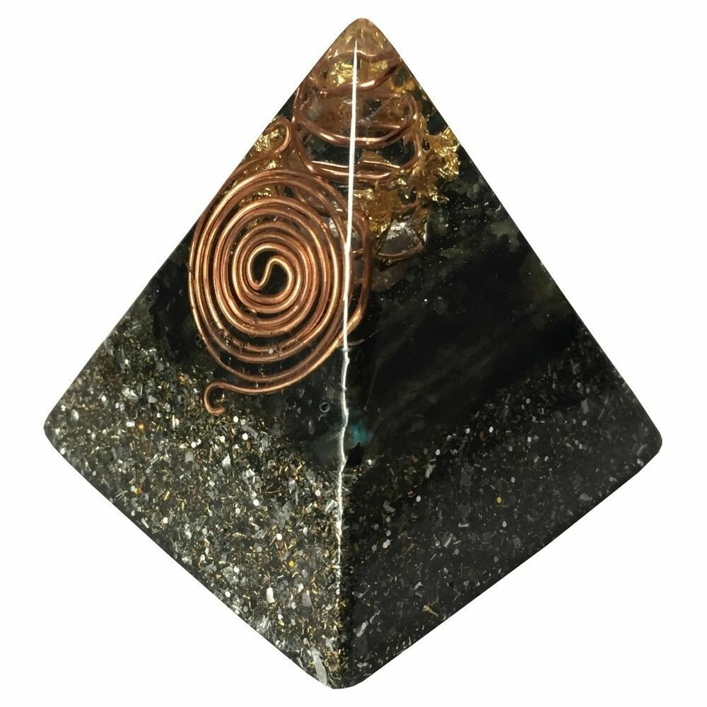 Orgonite 60mm Pyramid - SBB Coil, Black Tourmaline, Labradorite