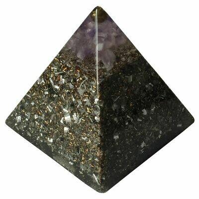 Orgonite 40mm Pyramid - Amethyst with Clear Quartz, Selenite & Black Tourmaline