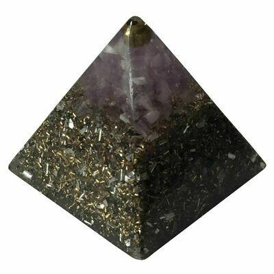 Orgonite 30mm Pyramid - Amethyst with Clear Quartz, Selenite & Black Tourmaline