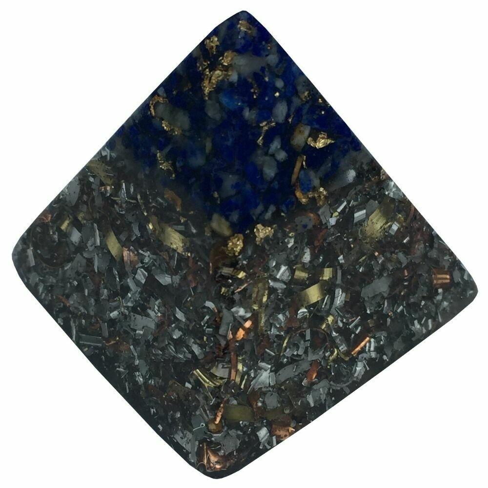 Orgonite 40mm Pyramid - Lapis Lazuli with Clear Quartz, Selenite & Black Tourmaline