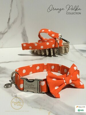 ORANGE POLKA DOG BOW TIE