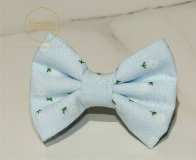 SMILEY BLUE DOG BOW TIE