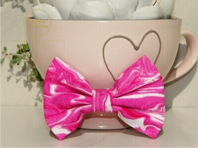PINK MARBLE DOG BOW TIE