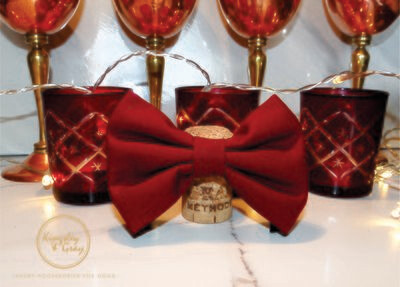 BORDEAUX CLARET DOG BOW TIE