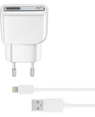 Cellularline Travel Charger Lightning Kit-10W  White