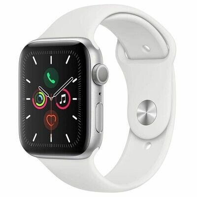 Apple Watch Series 5 - 44mm Silver Aluminum Case - White Sport Band