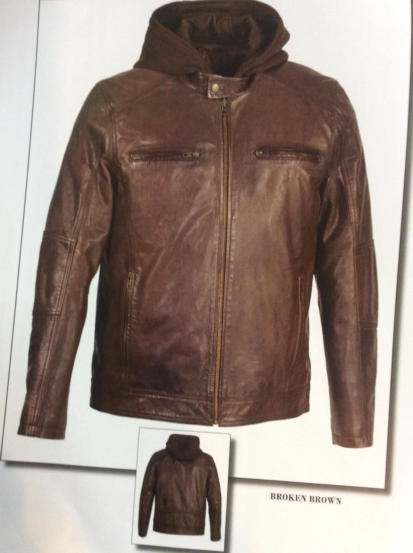 Men Leather Jacket Lamb Leather Color Black. Brown