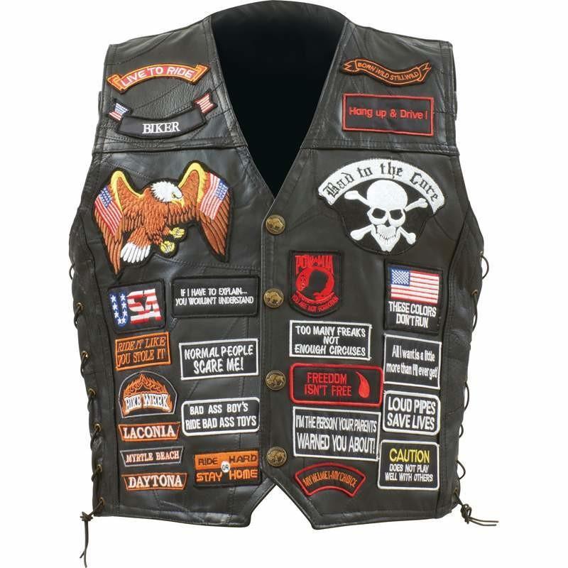 biker leather vest