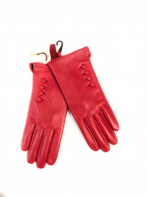 Ladies Real Leather Red Gloves