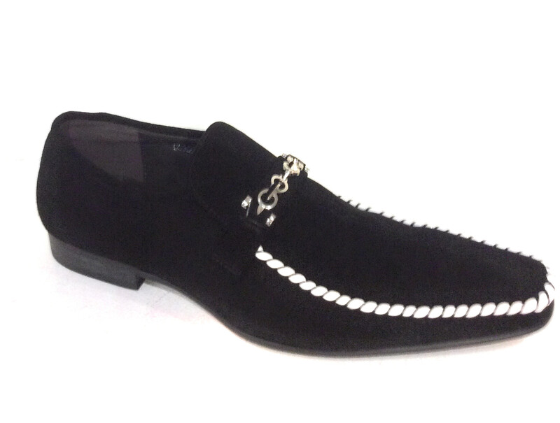 Men leather shoes black and White  zota g6850-6
