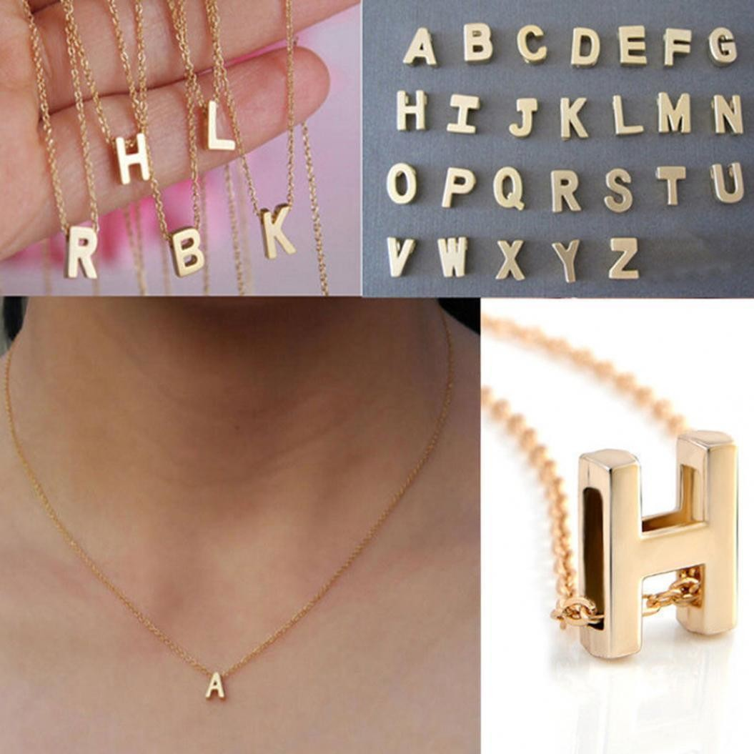 Fashion Women Gold Plated Initial Alphabet Letter A-Z Pendant Chain Necklace