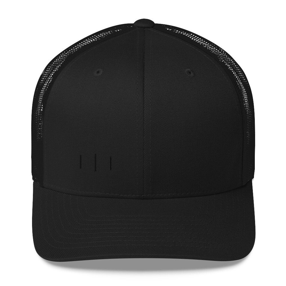 III - 3rd Lion - Black on Black Trinity Logo - Trucker Cap