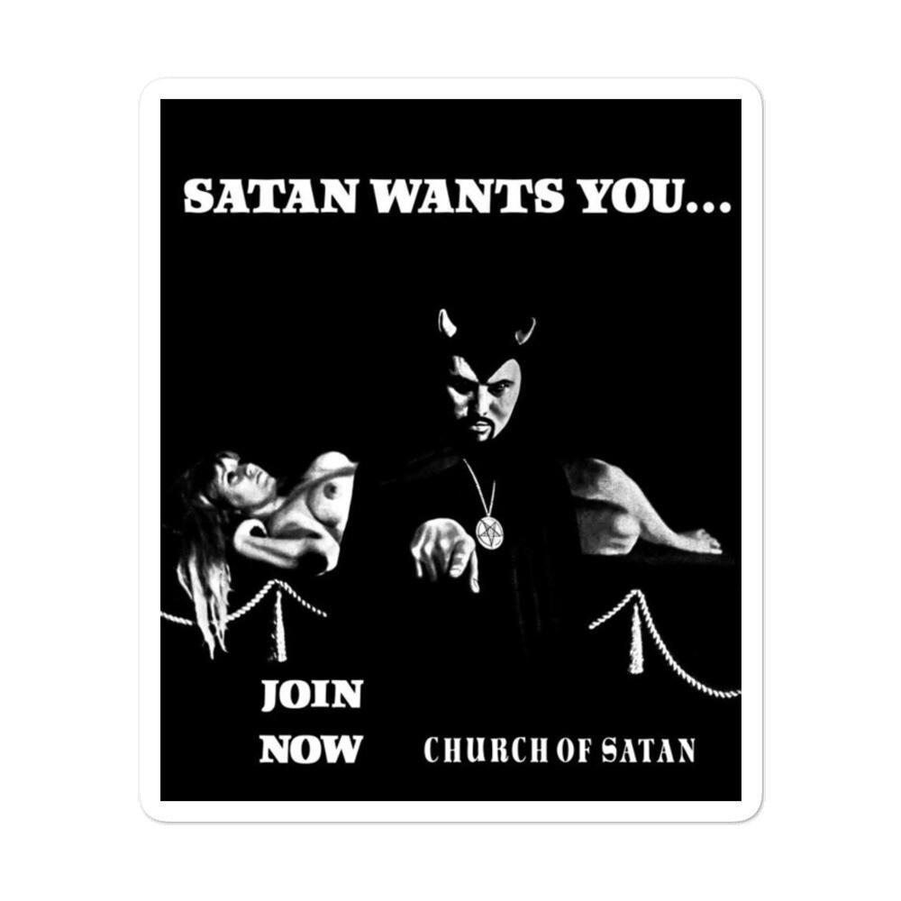 Baphomet X Anton LaVey Satan Wants You Sticker