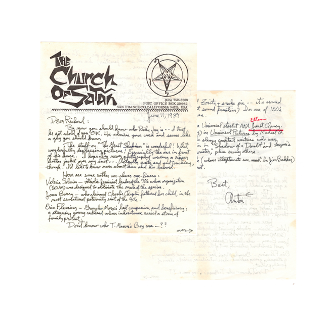 Deposit for Original Signed Letter From Anton LaVey to Richard Lamparski (Deposit)