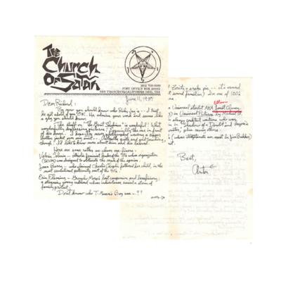Original Signed Letter From Anton LaVey to Richard Lamparski (Deposit)