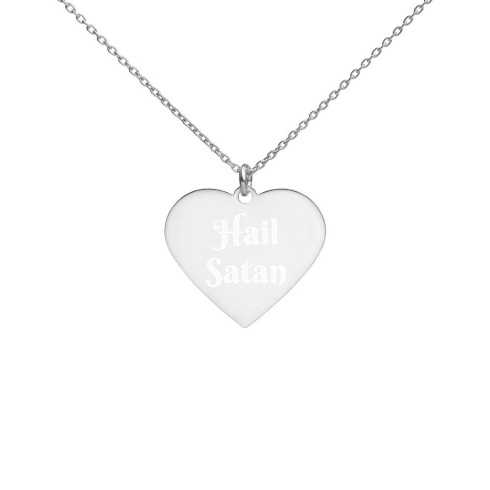 Hail Satan Engraved Silver Heart Necklace