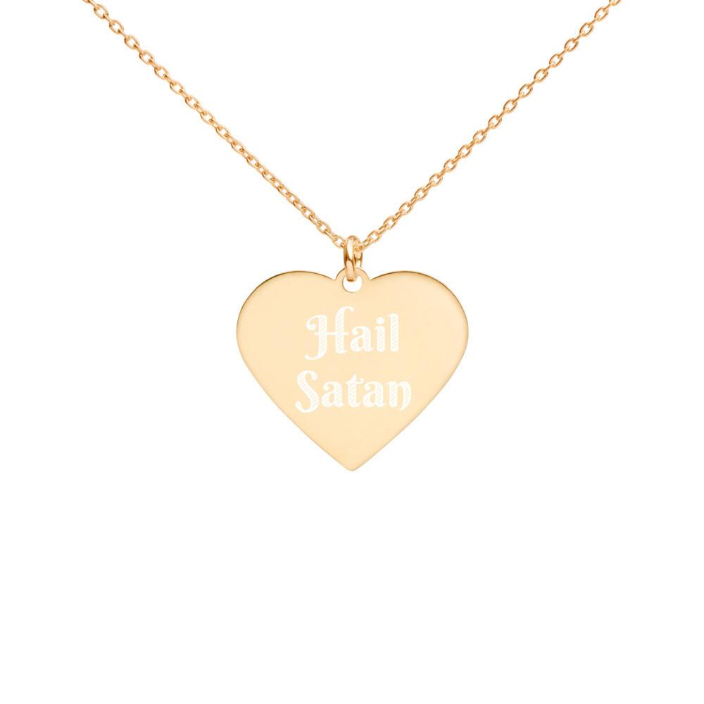Hail Satan Engraved Gold Heart Necklace