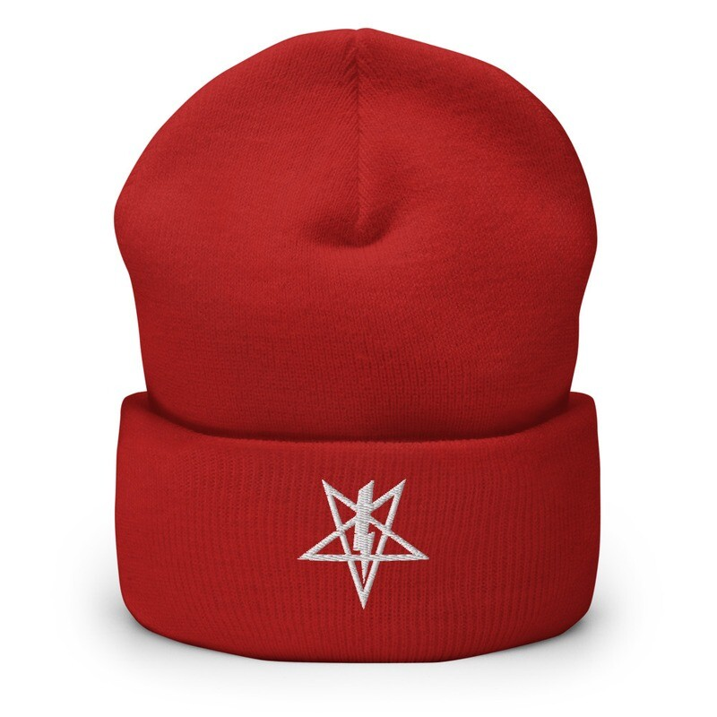 Satanic Power Symbol Embroidered Cuffed Beanie