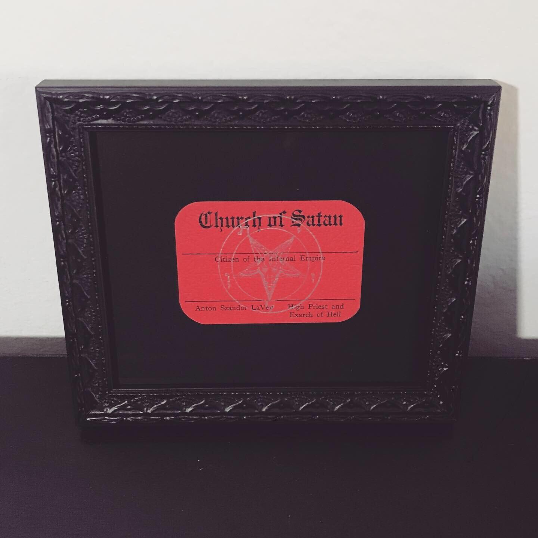 Vintage Church of Satan Membership Card Rounded Corners