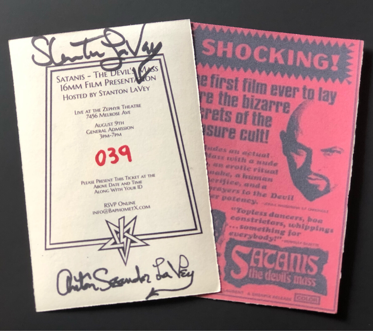 Pair Of Satanis Tickets Signed By Stanton LaVey