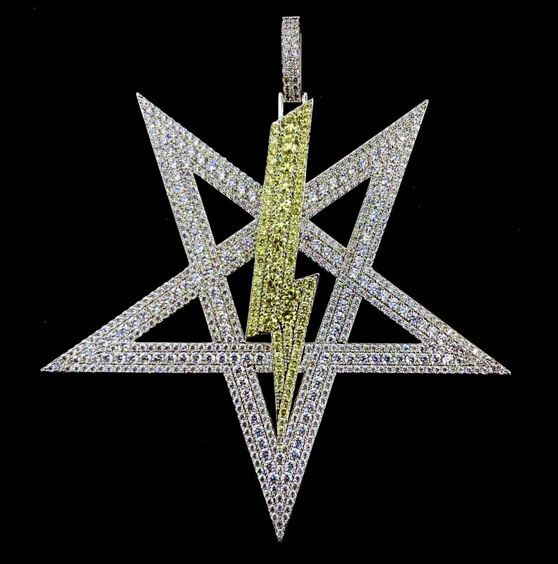 Iced Out Satanic Power Symbol Yellow Bolt Only One In Existence