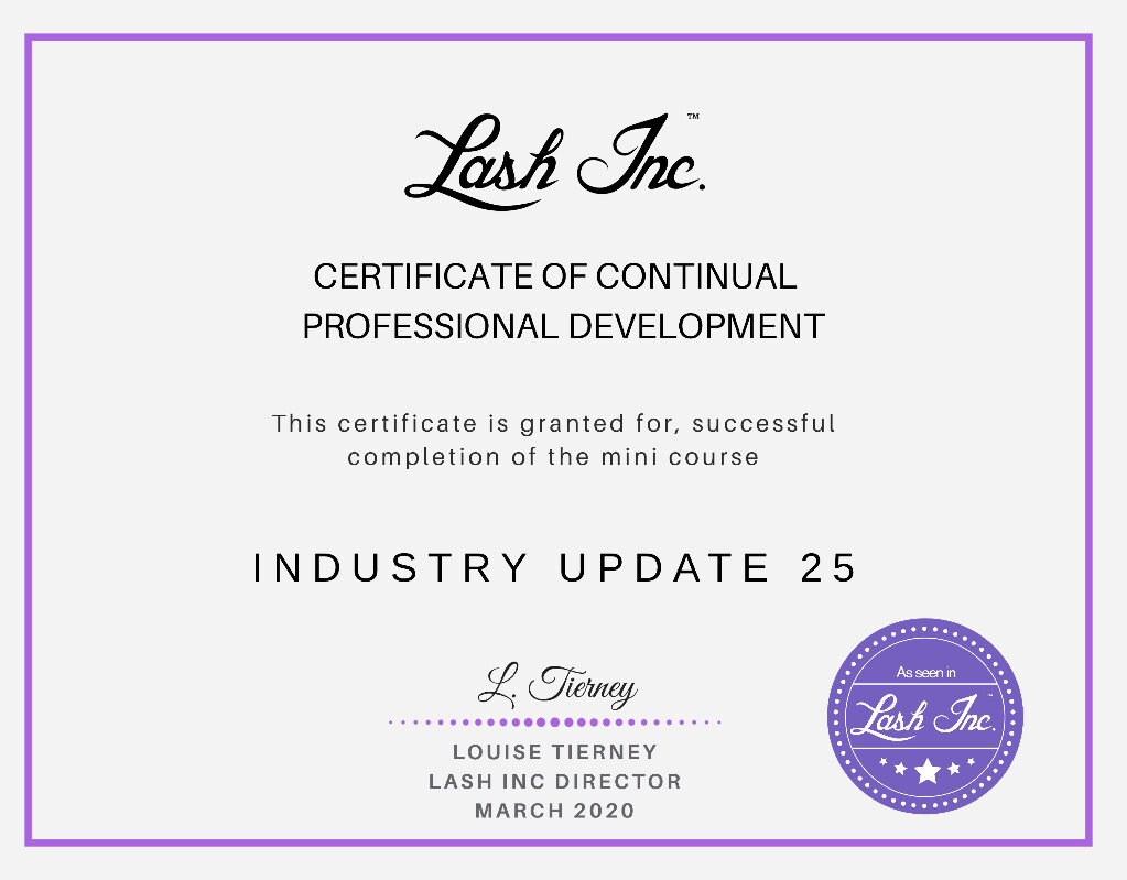 Lash Inc Industry Update Course 2020 #1