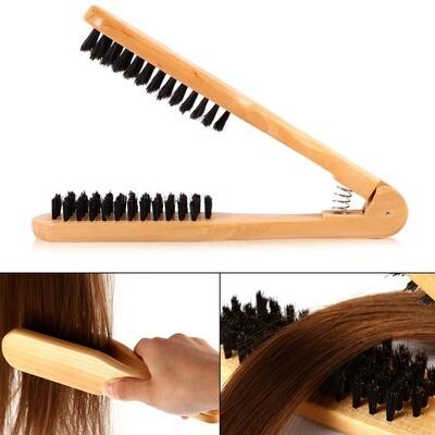 Щётка расческа дерево с натуральной щетиной для выпрямления волос