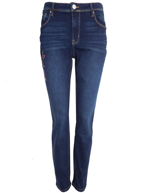 Embroidered Slim Leg Jeans