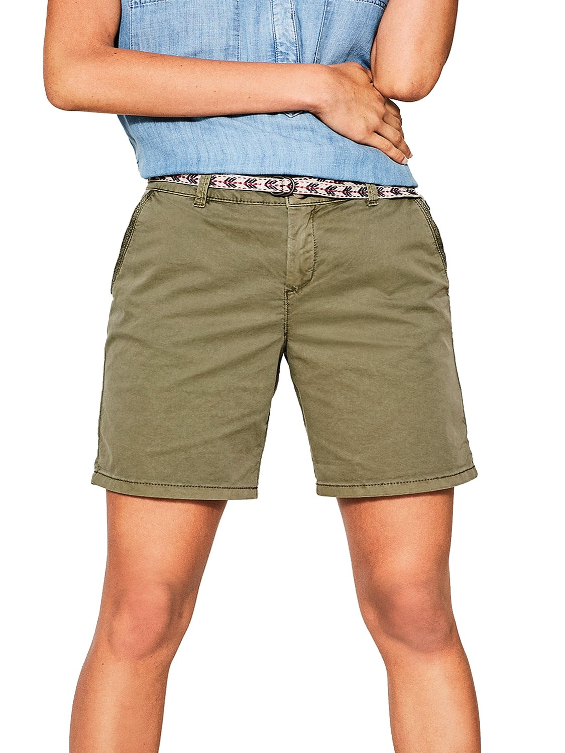 Cotton Rich Long Chino Shorts by ESprit