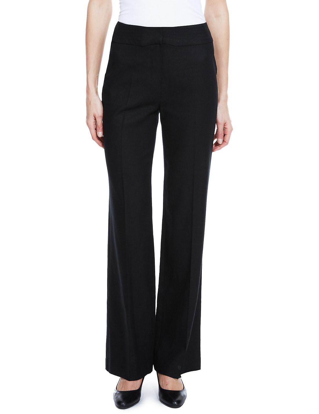 BLACK Linen Blend Wide Waistband M&S Trousers