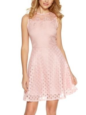 Soft Pink Crochet Burnout Mesh Skater Dress