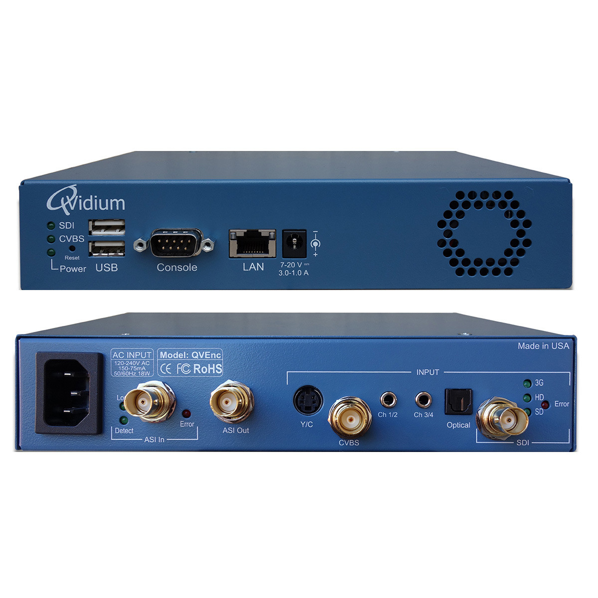 QVIDIUM QVENC HD SDI ENCODER w/ARQ Composite S-Video,4 Channel Audio HD Licences