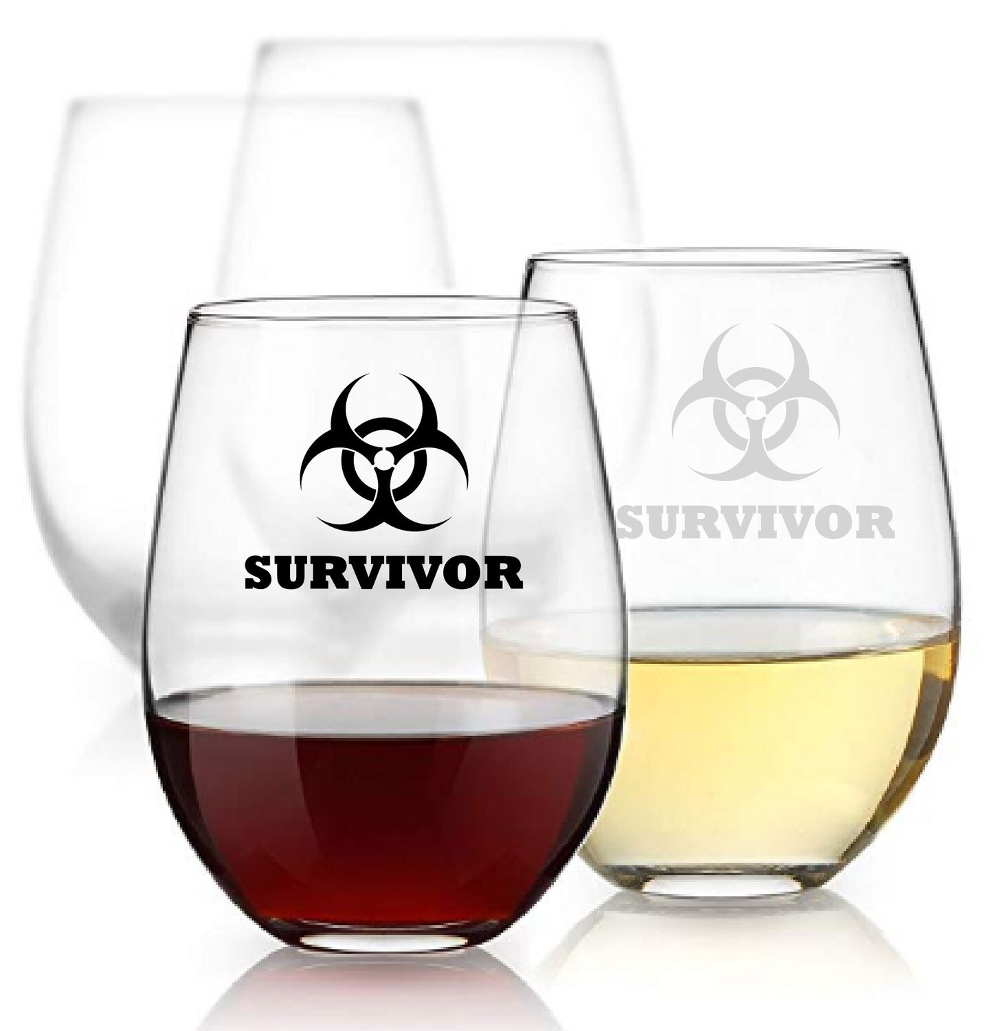 15oz Survivor Stemless  Wine Glass