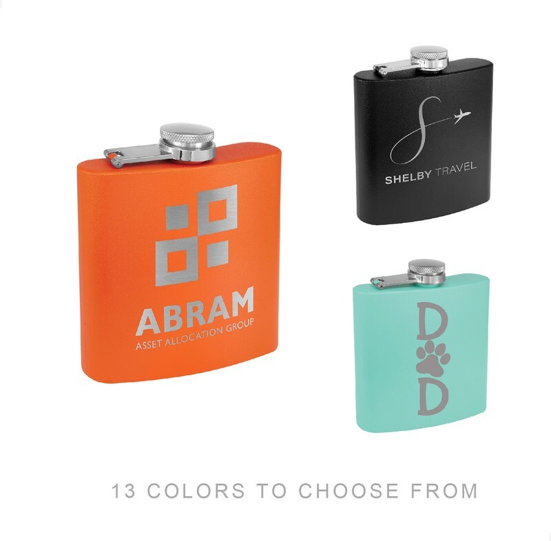 Custom Engraved Powder Coated Stainless Steel Flask (6 oz.)