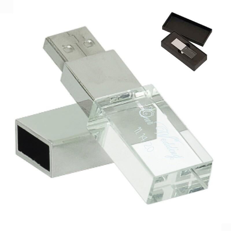 Custom Engraved 8GB Glass USB Flash Drive with LED light