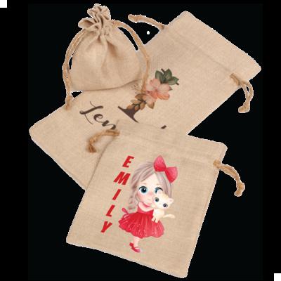 Personalized Faux Burlap Drawstring Bags (3 Sizes)