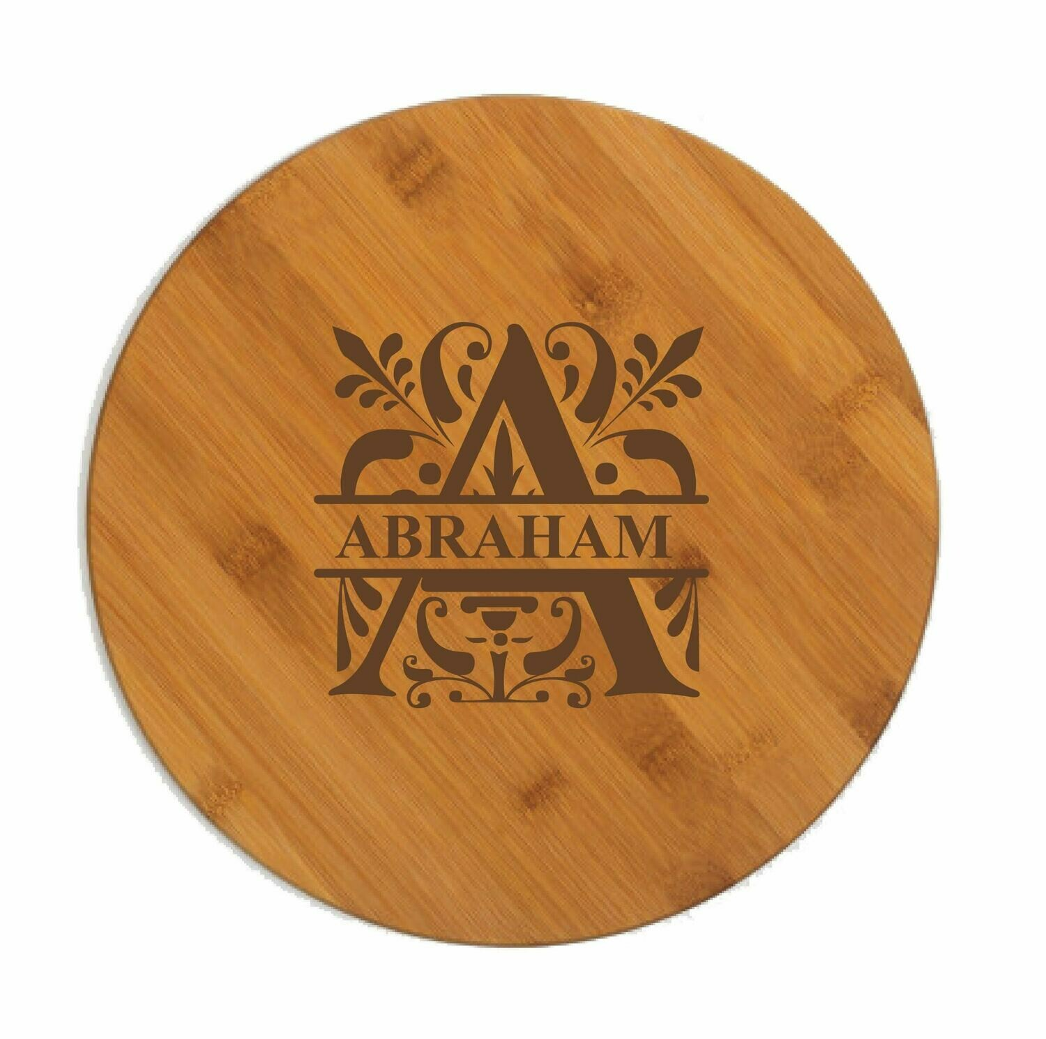 "Custom Engraved Monogram Paddle Shaped Cutting Board (13-1/2"")"