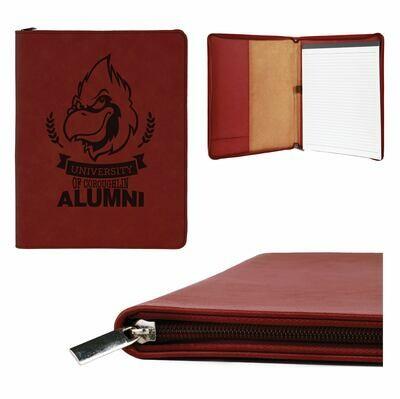 Custom engraved Leatherette zipper portfolio (9-1/2