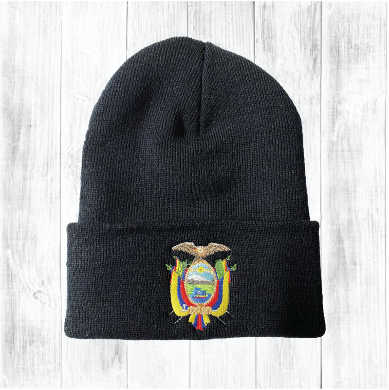 Ecuador Coat of Arms Embroidered Cuffed Beanie